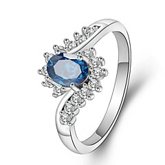 preiswerte Ringe-Damen Kubikzirkonia Stilvoll / Stapel Ring - Platiert Kreativ Romantisch, Modisch, Elegant 5 / 6 / 7 Blau Für Party / Büro & Karriere