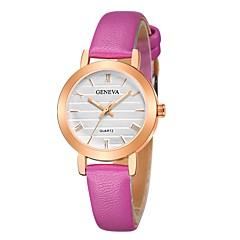 preiswerte Damenuhren-Geneva Damen Armbanduhr Chinesisch Neues Design / Armbanduhren für den Alltag / Cool Leder Band Freizeit / Modisch Schwarz / Braun / Rosa