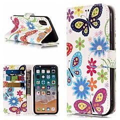 Недорогие Кейсы для iPhone 5-Кейс для Назначение Apple iPhone X / iPhone 8 Plus Кошелек / Бумажник для карт / со стендом Чехол Бабочка Твердый Кожа PU для iPhone X / iPhone 8 Pluss / iPhone 8