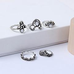 preiswerte Ringe-Damen Retro Ring-Set - Acryl, Aleación Krone Retro, Europäisch, Modisch 7 Silber Für Normal Alltag / 5 Stück