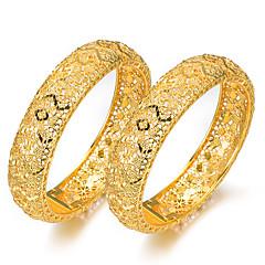 preiswerte Armbänder-Damen Klassisch Armreife Manschetten-Armbänder - vergoldet Kreativ Luxus, Ethnisch Armbänder Gelb Für Party Geschenk / 2pcs