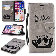 Недорогие Кейсы для iPhone 5-Кейс для Назначение Apple iPhone X / iPhone 8 Plus Кошелек / Бумажник для карт / со стендом Кейс на заднюю панель Панда Твердый ТПУ для iPhone X / iPhone 8 Pluss / iPhone 8