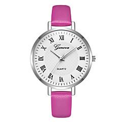preiswerte Damenuhren-Geneva Damen Armbanduhr Quartz Neues Design Armbanduhren für den Alltag Cool Leder Band Analog Freizeit Modisch Rot / Lila / Beige - Beige Purpur Rot Ein Jahr Batterielebensdauer