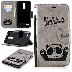Недорогие Чехлы и кейсы для LG-Кейс для Назначение LG K10 2018 Кошелек / Бумажник для карт / со стендом Чехол Панда Твердый Кожа PU для LG K10 2018
