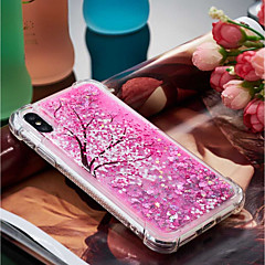 Недорогие Кейсы для iPhone-Кейс для Назначение Apple iPhone X / iPhone 8 Plus Защита от удара / Движущаяся жидкость / Прозрачный Кейс на заднюю панель Цветы Мягкий ТПУ для iPhone X / iPhone 8 Pluss / iPhone 8