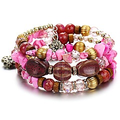 preiswerte Armbänder-Damen Türkis / Achat Mehrschichtig Wickelarmbänder - Europäisch Armbänder Grün / Blau / Rosa Für Alltag