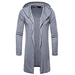 cheap Men's Sweaters & Cardigans-Men's Holiday Basic Solid Colored Long Sleeve Slim Long Cardigan, Hooded Spring / Fall White / Black / Light gray L / XL / XXL