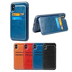Недорогие Кейсы для iPhone-Кейс для Назначение Apple iPhone X / iPhone 8 Бумажник для карт / со стендом Кейс на заднюю панель Однотонный Мягкий Кожа PU для iPhone X / iPhone 8 Pluss / iPhone 8