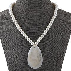 お買い得  ネックレス-女性用 スタイリッシュ ストランドネックレス  -  人造真珠, 樹脂 ドロップ シンプル, 欧風, ファッション ホワイト 42 cm ネックレス ジュエリー 1個 用途 カジュアル, 日常