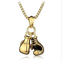 Недорогие Ожерелья-Муж. Стильные Цепь Foxtail Ожерелья с подвесками / Ожерелья-цепочки - Боксерские перчатки Стиль, европейский, Хип-хоп Cool Золотой, Серебряный 60 cm Ожерелье Бижутерия 1шт Назначение