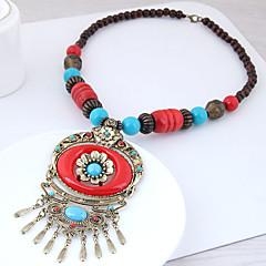 preiswerte Halsketten-Damen Vintage Stil Stilvoll Lange Halskette - Harz Blume Europäisch, Ethnisch, Boho Rot, Blau 55 cm Modische Halsketten Schmuck 1pc Für Normal, Alltag