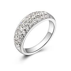 preiswerte Ringe-Damen Kubikzirkonia Mehrschichtig / Stilvoll Ring - Platiert Modisch, Elegant 5 / 6 / 7 Weiß Für Party / Büro & Karriere