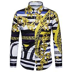 Недорогие Мужские рубашки-Муж. Большие размеры - Рубашка Геометрический принт / Длинный рукав