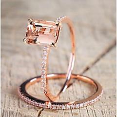 preiswerte Ringe-Damen Stilvoll / 3D Bandring - vergoldet Kreativ Stilvoll, Einzigartiges Design 7 / 8 Rotgold Für Alltag / Arbeit / 2pcs