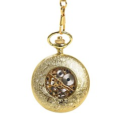 cheap Pocket Watches-Men's Pocket Watch Automatic self-winding Hollow Engraving Casual Watch Alloy Band Analog Skull Fashion Gold - Gold
