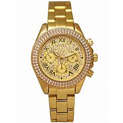 preiswerte Damenuhren-Damen Armbanduhr Quartz Chronograph leuchtend Armbanduhren für den Alltag Legierung Band Analog Luxus Glanz Gold - Gold / Imitation Diamant / Großes Ziffernblatt