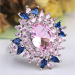 cheap Rings-Women's Layered Stylish Statement Ring Ring - Copper, Platinum Plated, Imitation Diamond Flower Classic, Hyperbole, French 6 / 7 / 8 / 9 / 10 Pink For Party Evening Party