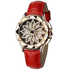 お買い得  レディース腕時計-SANDA 女性用 ドレスウォッチ リストウォッチ 日本産 クォーツ 本革 ベルト素材 ブラック / 白 / レッド 30 m 耐水 透かし加工 新デザイン ハンズ レディース カジュアル ファッション - グレー Brown レッド / 模造ダイヤモンド