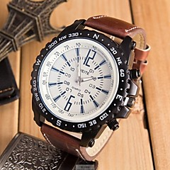 preiswerte Armbanduhren für Paare-Herrn Paar Sportuhr Armbanduhr Quartz Armbanduhren für den Alltag lieblich Leder Band Analog digital Freizeit Modisch Schwarz / Braun / Khaki - Kaffee Braun Schwarz / Weiß