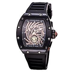 preiswerte Herrenuhren-Herrn Sportuhr / Armbanduhr Chinesisch Chronograph / Transparentes Ziffernblatt / Neues Design Silikon Band Luxus / Glanz Schwarz