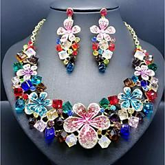 ieftine Seturi de Bijuterii-Pentru femei Zirconiu Cubic Urmă Set bijuterii - Reșină Floare Stilat, Romantic, Elegant Include Cercei Picătură Bratara colier Verde / Albastru / Roz Pentru Nuntă Petrecere