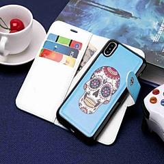 Недорогие Кейсы для iPhone 7 Plus-Кейс для Назначение Apple iPhone XR / iPhone XS Max Кошелек / Бумажник для карт / со стендом Чехол Черепа Твердый Кожа PU для iPhone XS / iPhone XR / iPhone XS Max