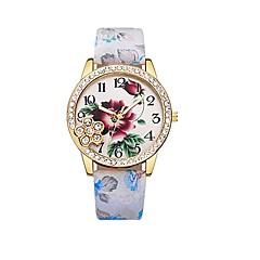 preiswerte Damenuhren-Damen Kleideruhr Armbanduhr Quartz Neues Design Armbanduhren für den Alltag Imitation Diamant PU Band Analog Freizeit Modisch Schwarz / Blau / Rot - Blau Rosa Weiß / Pink Ein Jahr Batterielebensdauer