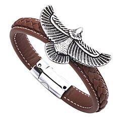Недорогие Браслеты-Муж. Старинный Классический Кожаные браслеты - Нержавеющая сталь, Кожа Eagle Массивный, Классика Браслеты Черный / Коричневый Назначение Свидание Офис