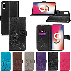 Недорогие Кейсы для iPhone 6 Plus-Кейс для Назначение Apple iPhone XR / iPhone XS Max Кошелек / Бумажник для карт / со стендом Чехол Однотонный / Мандала / Бабочка Твердый Кожа PU для iPhone XS / iPhone XR / iPhone XS Max