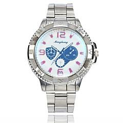 お買い得  メンズ腕時計-男性用 ドレスウォッチ リストウォッチ クォーツ カジュアルウォッチ 大きめ文字盤 合金 バンド ハンズ カジュアル ファッション シルバー - ホワイト ブルー 1年間 電池寿命
