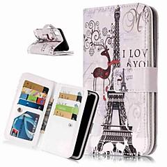 Недорогие Кейсы для iPhone 5-Кейс для Назначение Apple iPhone XR / iPhone XS Max Кошелек / Бумажник для карт / со стендом Чехол Эйфелева башня Твердый Кожа PU для iPhone XS / iPhone XR / iPhone XS Max