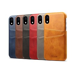 abordables Novedades-Funda Para Apple iPhone XS / iPhone XR Soporte de Coche / Antigolpes Funda Trasera Un Color Dura Cuero de PU para iPhone XS / iPhone XR / iPhone XS Max