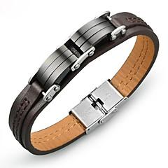 Недорогие Браслеты-Муж. Классический Кожаные браслеты - Титановая сталь, Платиновое покрытие модный, корейский Браслеты Коричневый Назначение Повседневные