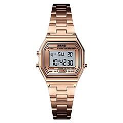 お買い得  レディース腕時計-SKMEI 女性用 スポーツウォッチ 軍用腕時計 デジタル 30 m アラーム カレンダー クロノグラフ付き ステンレス バンド デジタル カジュアル ファッション シルバー / ゴールド / ローズゴールド - シルバー ゴールド ローズゴールド 1年間 電池寿命