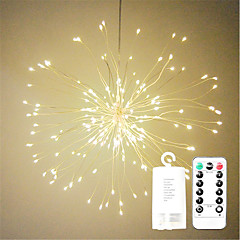preiswerte Ausgefallene LED-Beleuchtung-1pc LED-Nachtlicht / LED Feuerwerk Lichterketten Warmes Weiß / Weiß / Mehrfarbig AA-Batterien angetrieben Wasserfest / Ferngesteuert / Hochzeit Batterie / <5 V