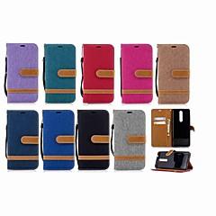 Недорогие Чехлы и кейсы для Nokia-Кейс для Назначение Nokia Nokia 5.1 / Nokia 3.1 Кошелек / Бумажник для карт / со стендом Чехол Однотонный Твердый текстильный для Nokia 5.1 / Nokia 3.1 / Nokia 2.1