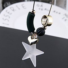 preiswerte Halsketten-Damen Klassisch / Stilvoll Lange Halskette - Herz, Stern Einfach, Europäisch, Süß Weiß 70 cm Modische Halsketten Schmuck 1pc Für Normal, Alltag