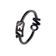 お買い得  指輪-女性用 指輪 / 調節可能なリング  -  創造的, レタード シンプル, 韓国語 調整可 ゴールド / ブラック / シルバー 用途 パーティー / 日常 / ストリート