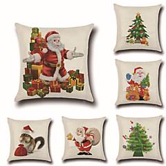 abordables Almohadas-6 PC Algodón / Lino Moderno / Contemporáneo / Funda de almohada, Vacaciones / Británico / Navidad Dibujos / Navidad