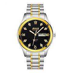 お買い得  メンズ腕時計-BOSCK 男性用 機械式時計 30 m 耐水 カレンダー ステンレス バンド ハンズ カジュアル 世界地図柄 ゴールド - ゴールド ホワイト ブラック 1年間 電池寿命