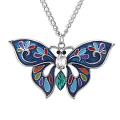 preiswerte Halsketten-Damen Stilvoll Lang Anhängerketten - Schmetterling Europäisch, nette Art, Mehrfarbig Gelb, Rose Rot, Dunkelgrün 60 cm Modische Halsketten Schmuck 1pc Für Normal, Alltag