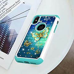 Недорогие Кейсы для iPhone 6-Кейс для Назначение Apple iPhone X / iPhone 8 Защита от удара / Стразы / С узором Кейс на заднюю панель Бабочка Твердый ПК для iPhone X / iPhone 8 Pluss / iPhone 8