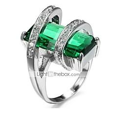 preiswerte Ringe-Damen Klassisch 3D Bandring Verlobungsring - Kupfer, Strass, versilbert Einfach, Klassisch 7 / 8 Grün Für Party Alltag / Glas
