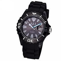 お買い得  メンズ腕時計-ASJ 男性用 スポーツウォッチ 日本産 クォーツ 30 m 耐水 カジュアルウォッチ シリコーン バンド ハンズ カジュアル ファッション ブラック / 白 - ホワイト ブラック