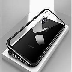 Недорогие Кейсы для iPhone 6 Plus-Кейс для Назначение Apple iPhone X / iPhone 8 / iPhone 8 Plus Защита от удара / Прозрачный / Магнитный Чехол Однотонный Твердый Закаленное стекло / Металл для iPhone X / iPhone 8 Pluss / iPhone 8
