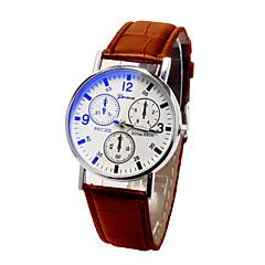 preiswerte Herrenuhren-Herrn Armbanduhr Quartz Armbanduhren für den Alltag Leder Band Analog Modisch Schwarz / Braun - Schwarz / Braun Schwarz / Weiß Weiß / Braun
