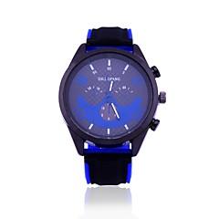 お買い得  メンズ腕時計-男性用 軍用腕時計 リストウォッチ クォーツ 新デザイン カジュアルウォッチ 大きめ文字盤 シリコーン バンド ハンズ カジュアル ブルー / レッド / オレンジ - イエロー レッド ブルー 1年間 電池寿命