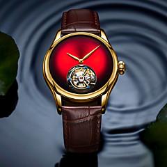 お買い得  メンズ腕時計-AngelaBOS 男性用 機械式時計 手巻き式 本革 ベルト素材 ブラック / ブラウン 50 m 耐水 透かし加工 新デザイン ハンズ ぜいたく ファッション - レッド グリーン ブルー / ステンレス / 模造ダイヤモンド