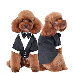 cheap Dog Clothing & Accessories-Cat Dog Tuxedo Dog Clothes Bowknot Black Cotton Costume For Pets Men's Cute Cosplay Wedding