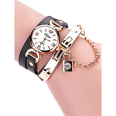 preiswerte Damenuhren-Damen Armbanduhr Quartz 30 m Kreativ Armbanduhren für den Alltag PU Band Analog Retro Modisch Schwarz / Weiß / Rot - Fuchsia Rot Hellblau